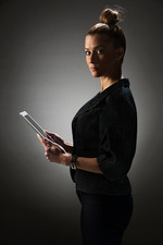 Businesswoman holding tablet computer