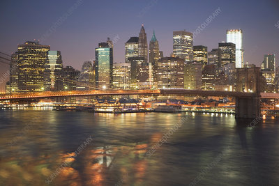 New York City lit up at night