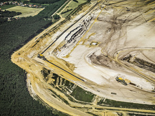 Aerial view of strip coal mining field