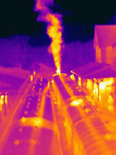Thermal image of steam train