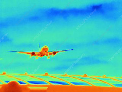 Thermal image of airplane in sky