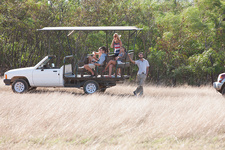 Young people on safari in off road vehicle, South Africa