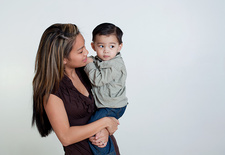 Mother and son, studio shot