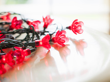 Close up of flower shaped decorative lights