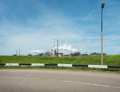 Distant view of steelworks, IJmuiden, Netherlands