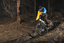 Male mountain biker riding through trees