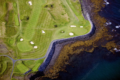 Aerial view of golf course, Iceland