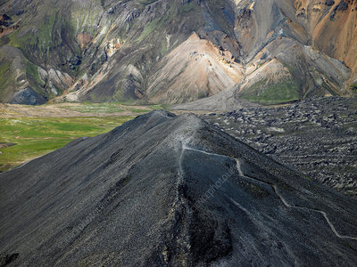 Elevated view of Blafjoll mountain, Landmannalaugar, Iceland