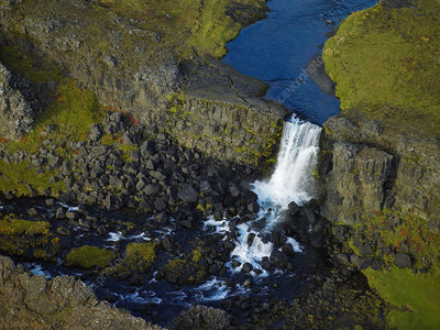 Aerial view of Oxarafoss waterfall, Iceland