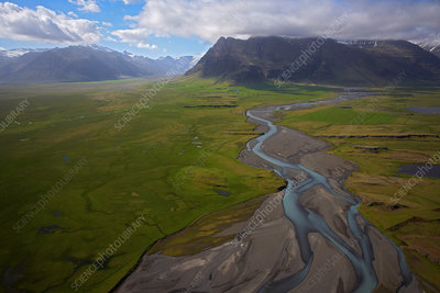Elevated view of glacial river, South Iceland