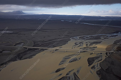 Aerial view of bridge crossing glacial river, South Iceland