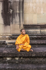 Young Buddhist monk sitting at temple, Cambodia