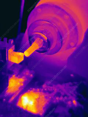 Thermal image of part being turned on lathe