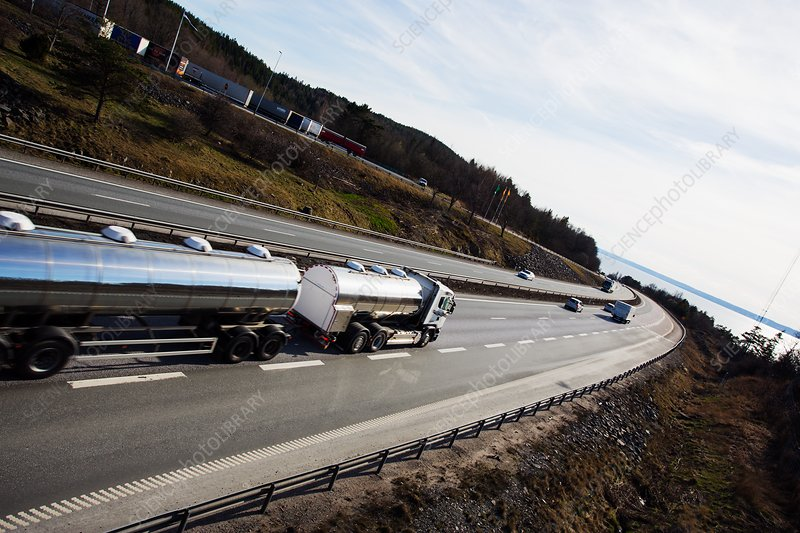 Fuel tanker truck on highway