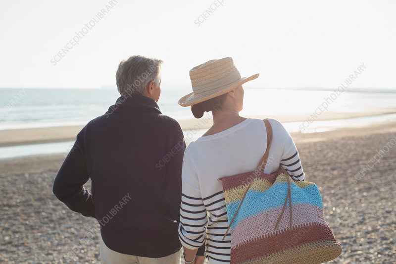 Mature couple looking way