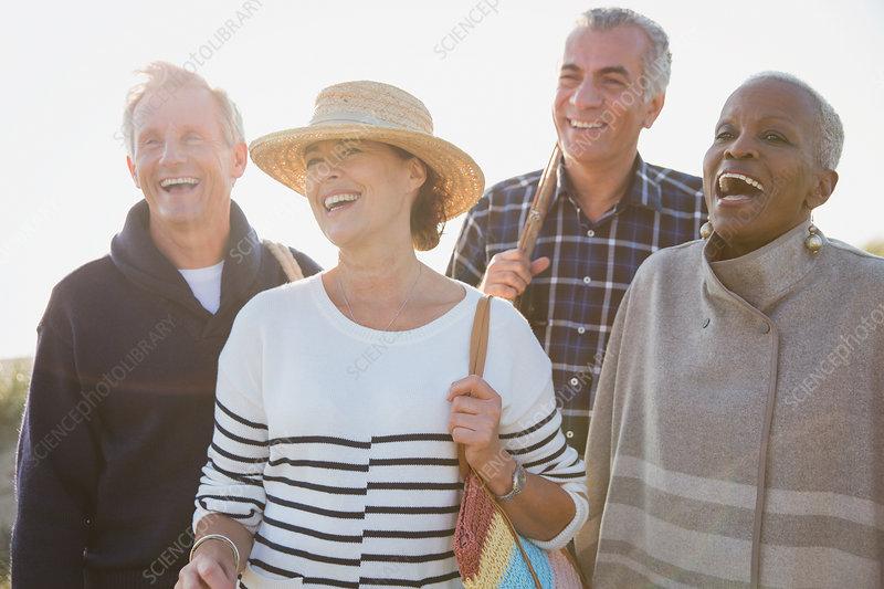 Enthusiastic senior couples