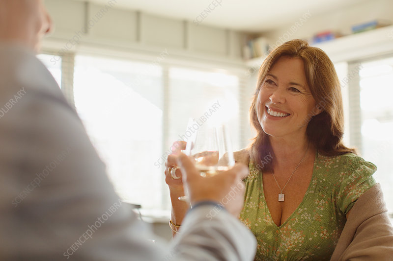 Smiling couple toasting wine glasses