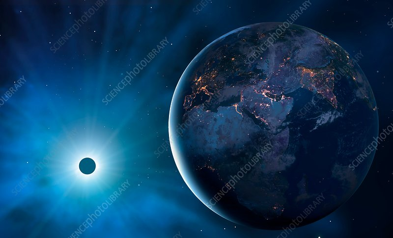 Eclipse from space, illustration