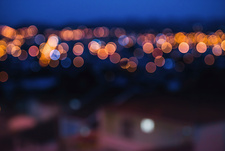City lights in distance, blurred image