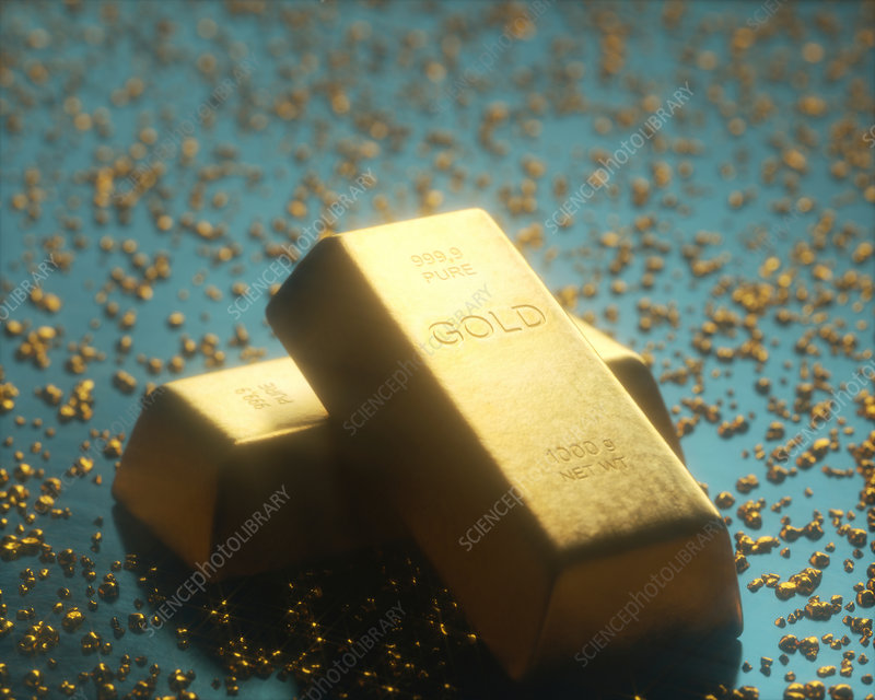 Gold bars and nuggets, illustration