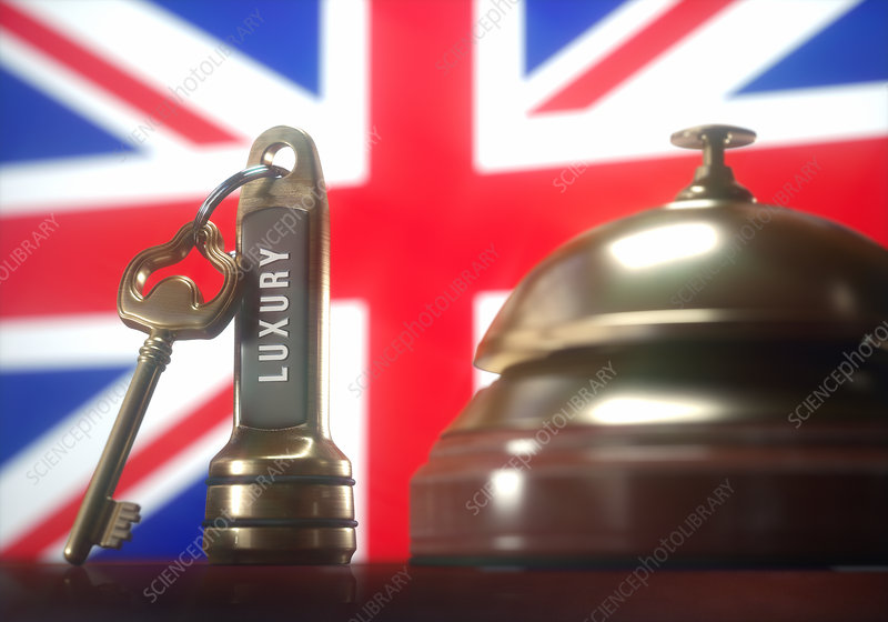 Hotel key and bell with British flag, illustration