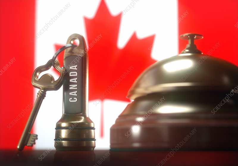 Hotel key and bell with Canadian flag, illustration