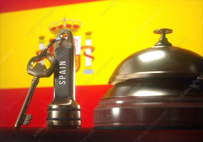 Hotel key and bell with Spanish flag, illustration