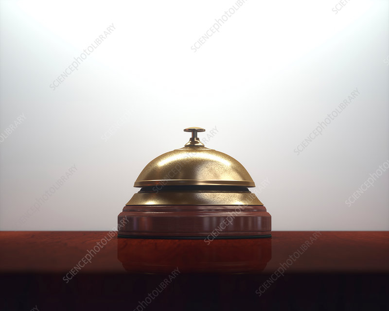 Hotel bell on counter, illustration
