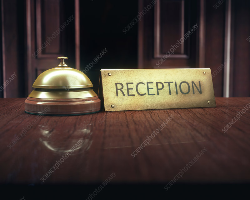 Hotel bell and sign on counter, illustration
