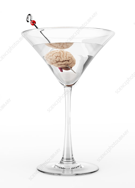 Cocktail glass with human brain, illustration