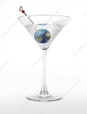 Cocktail glass with planet earth, illustration