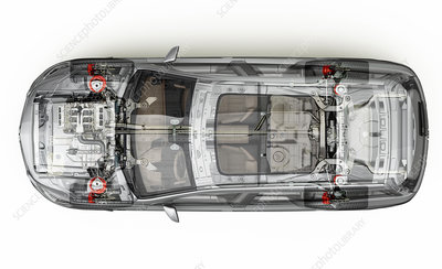 Car viewed from above, illustration