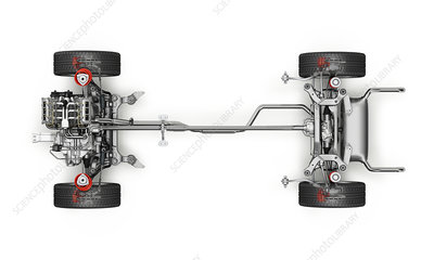 Car axels and drive shaft , illustration