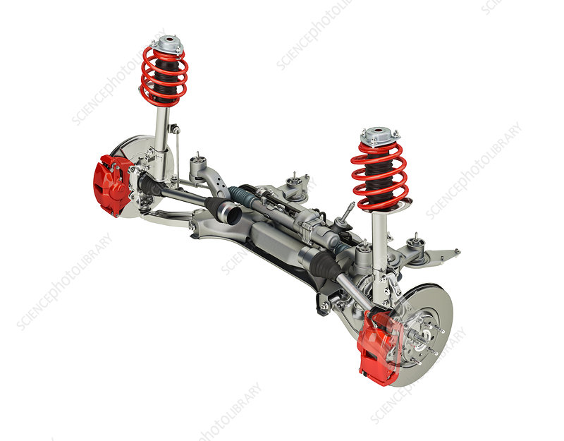 Car suspension and brakes, illustration