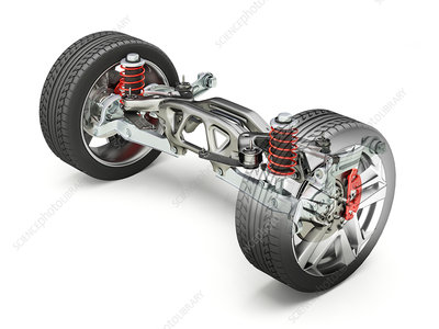 Car suspension wheels and suspension, illustration