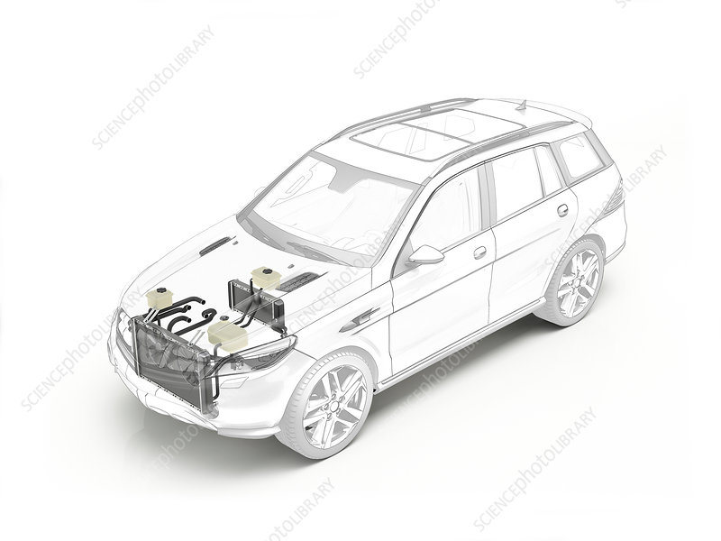 Technical drawing of cooling system in car, illustration