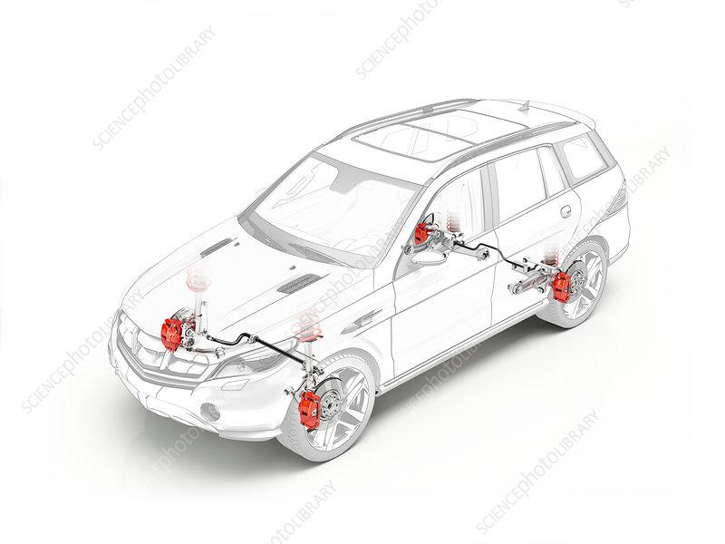 Technical drawing of brakes in car, illustration