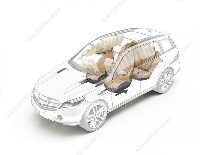 Technical drawing of car seats and airbags, illustration