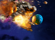 Meteor hitting planet Earth, illustration
