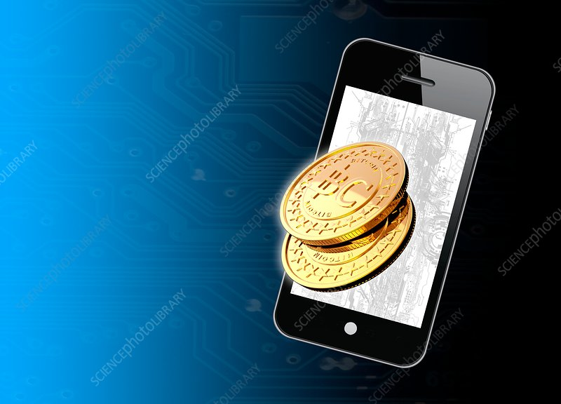 Bitcoins and smartphone, illustration