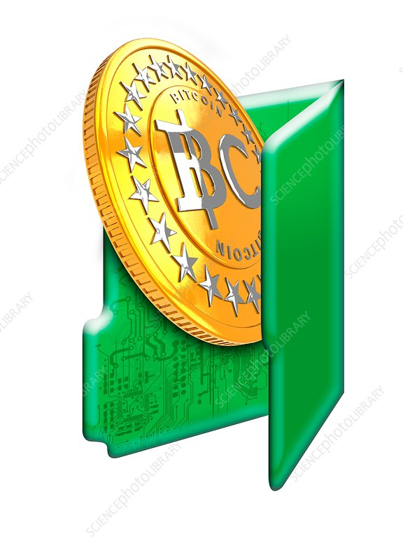 Bitcoin and computer folder symbol, illustration