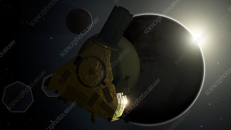 New Horizons and Backlit Pluto, illustration