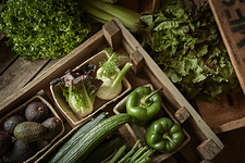 Fresh vegetable variety in wood crate