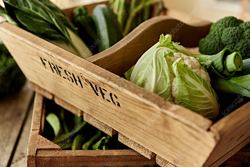 Fresh, green vegetables in wooden crate
