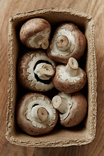 Fresh, six brown mushrooms in container