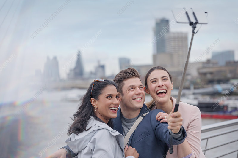 Tourists taking selfie, London, UK