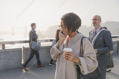 Silhouette businesswoman talking on cell phone