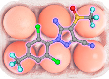 Fipronil insecticide molecule with eggs