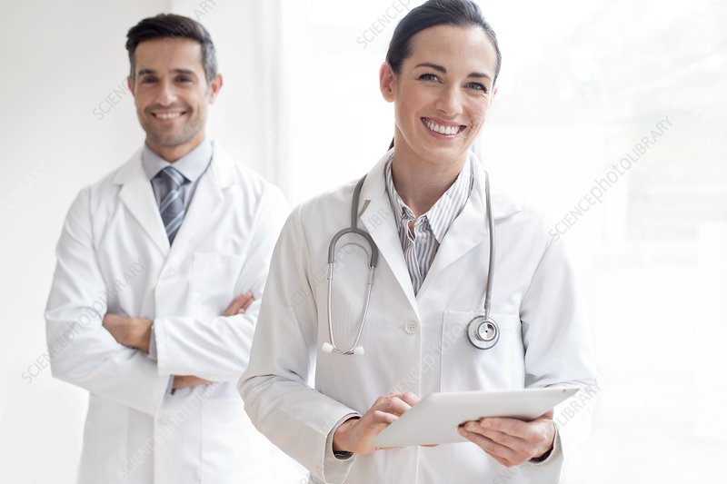 Female doctor with male colleague