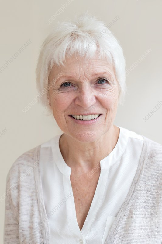 Senior woman smiling towards camera